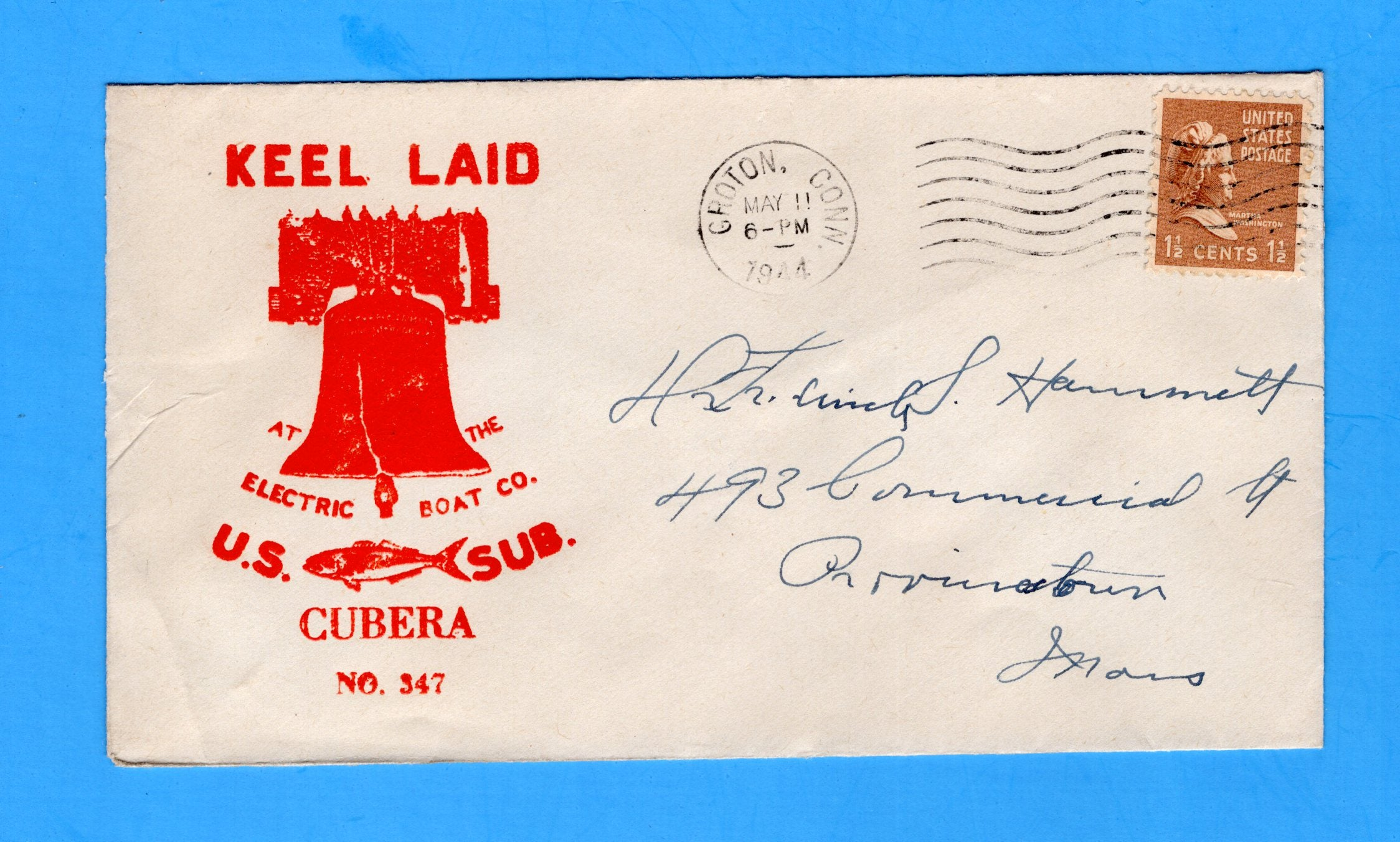 USS Cubera SS-347 Keel Laid May 11, 1944 - Raised Print Cachet