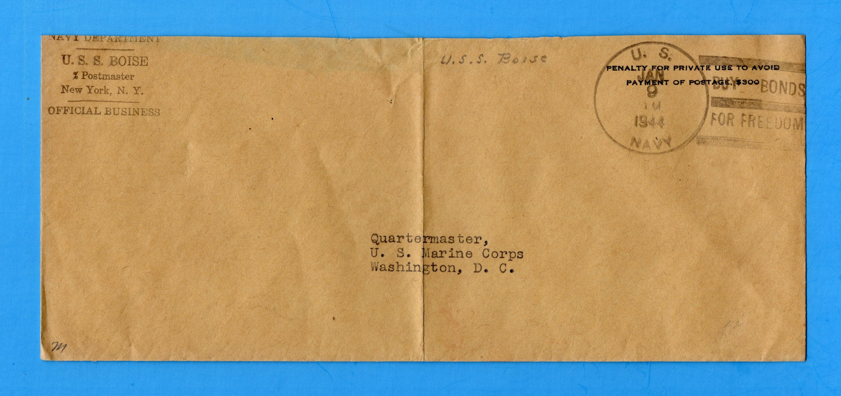USS Boise CL-47 Navy Department Official Mail January 9, 1944