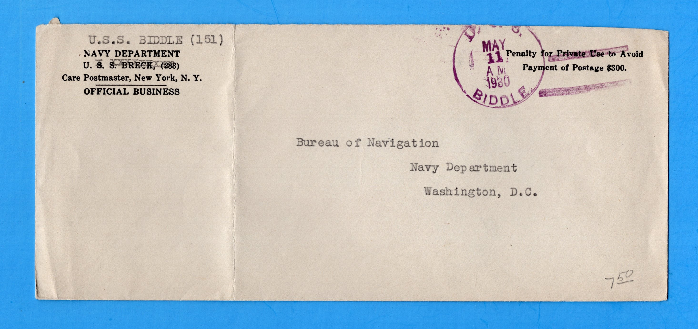USS Biddle DD-151 Navy Department Official Mail May 11, 1930