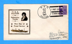 USS Fulton AS-11 Commissioned September 12, 1941 - Raised Print Cachet