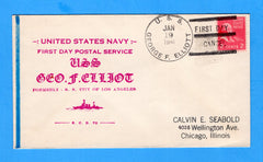 USS George F. Elliot AP-13 First Day Postal Service January 19, 1941