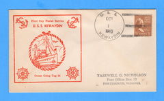 USS Kewaydin AT-24 First Day Postal Service October 1, 1940