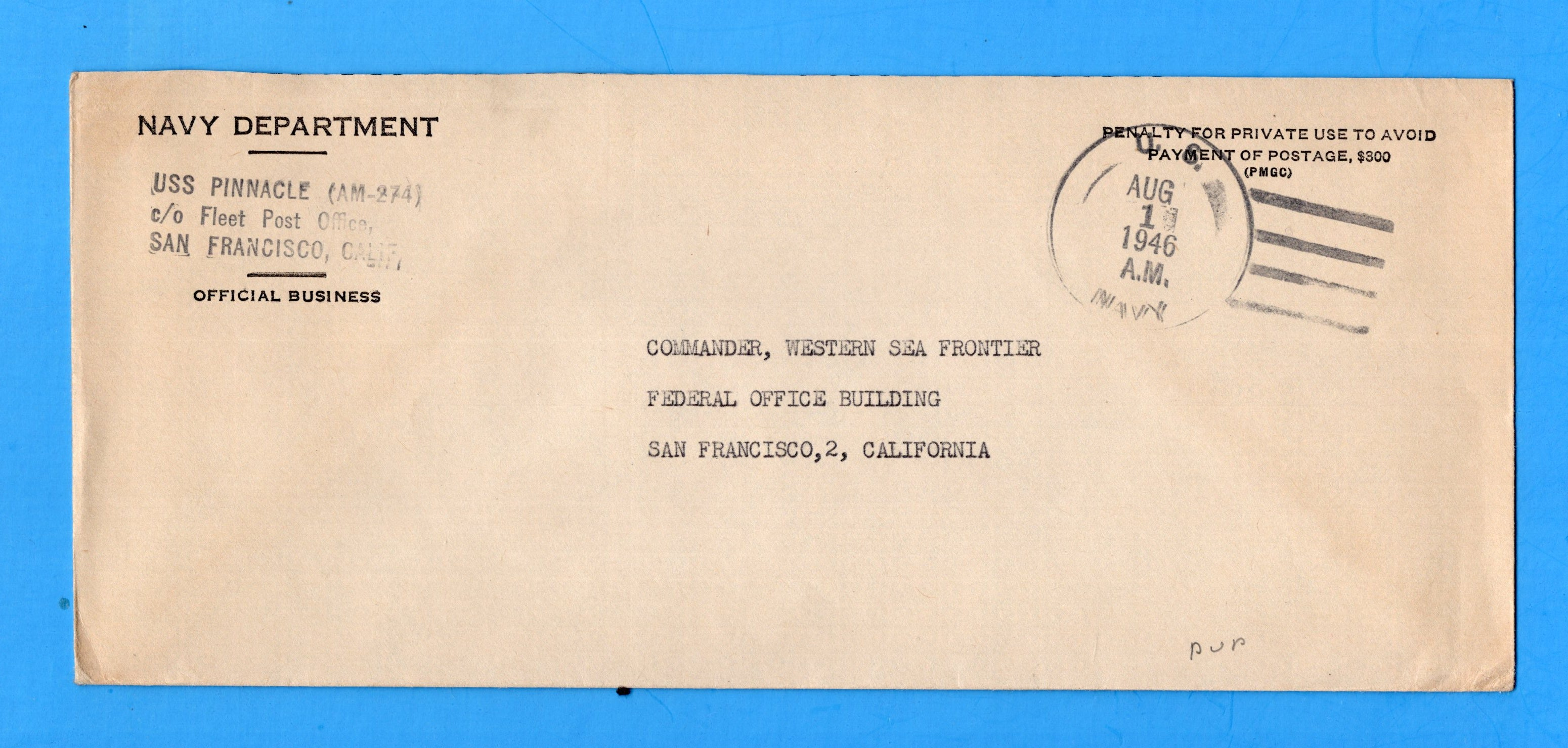 USS Pinnacle AM-274 Navy Department Official Mail August 1, 1946
