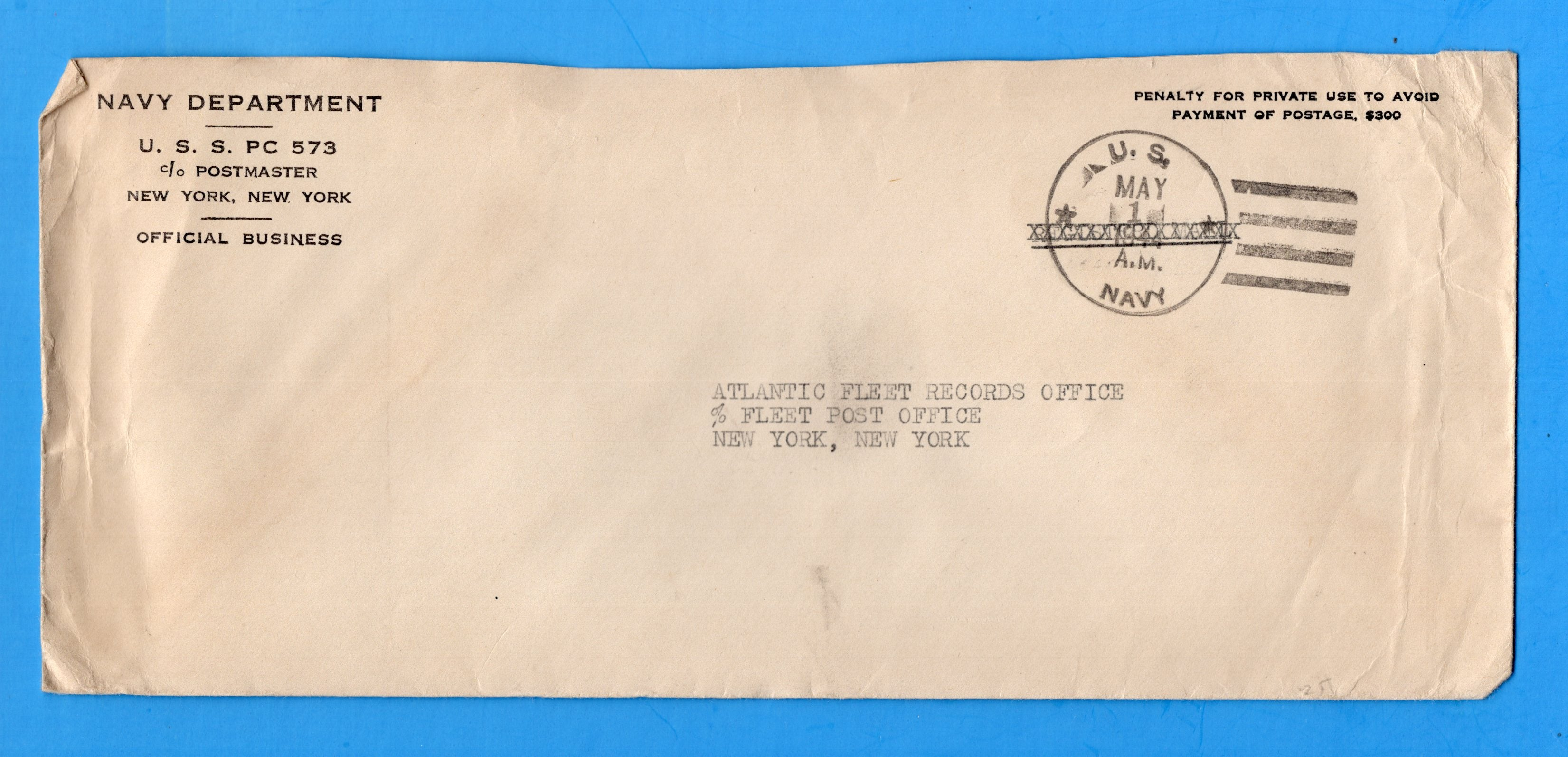 USS PC-573 Navy Department Official Mail May 1, 1944