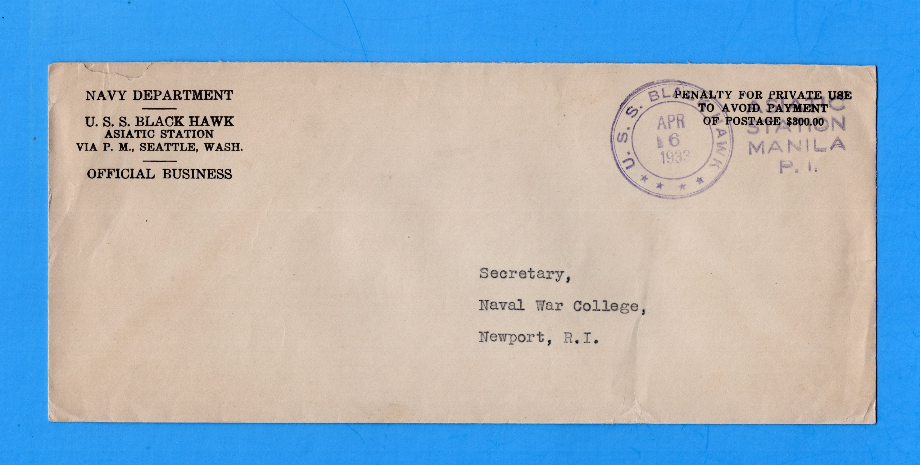 USS Black Hawk AD-9 Navy Department Official Mail Asiatic Station Manila April 6,1933