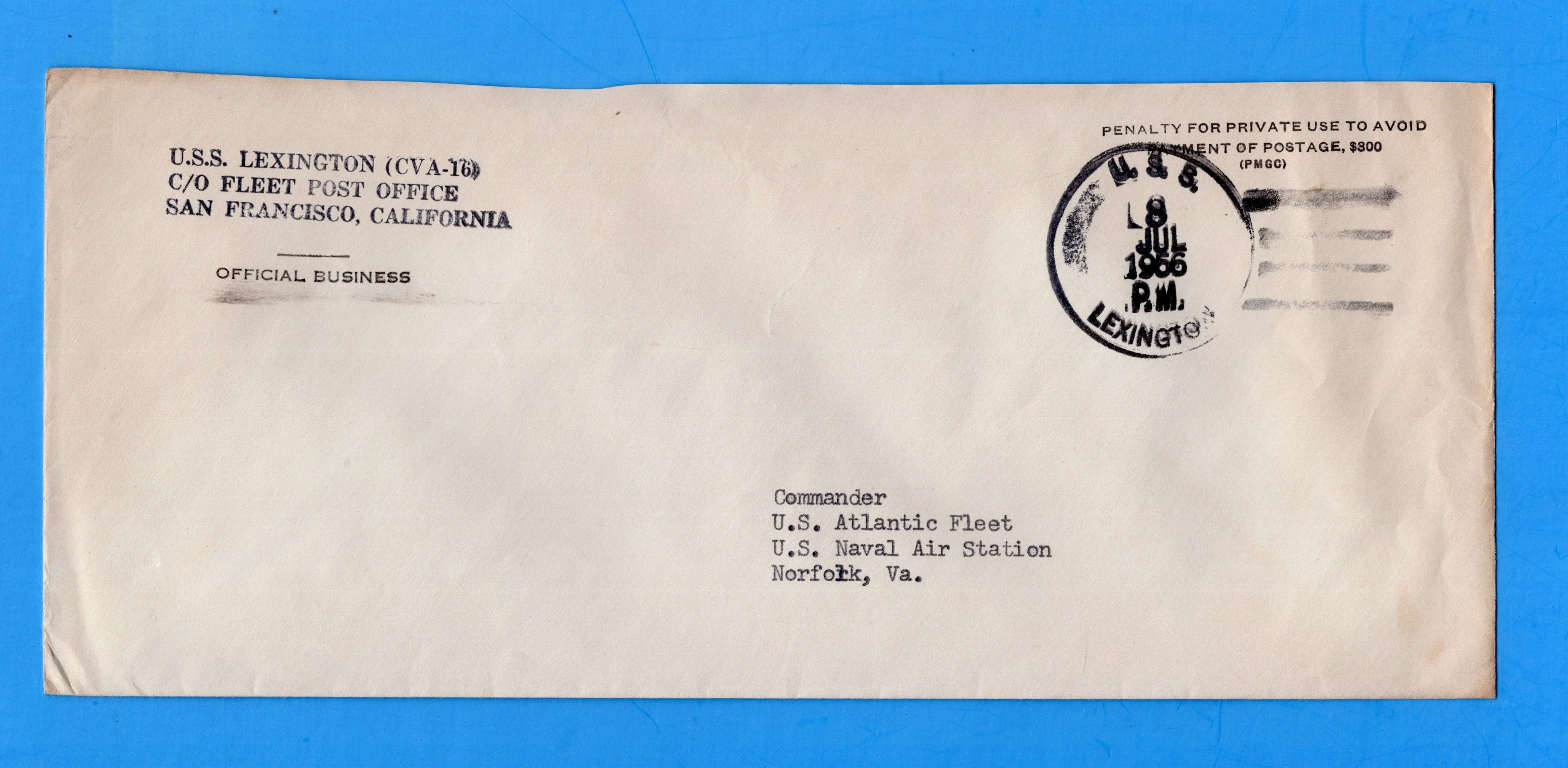 USS Lexington CVA-16 Navy Department Official Mail July 8, 1966