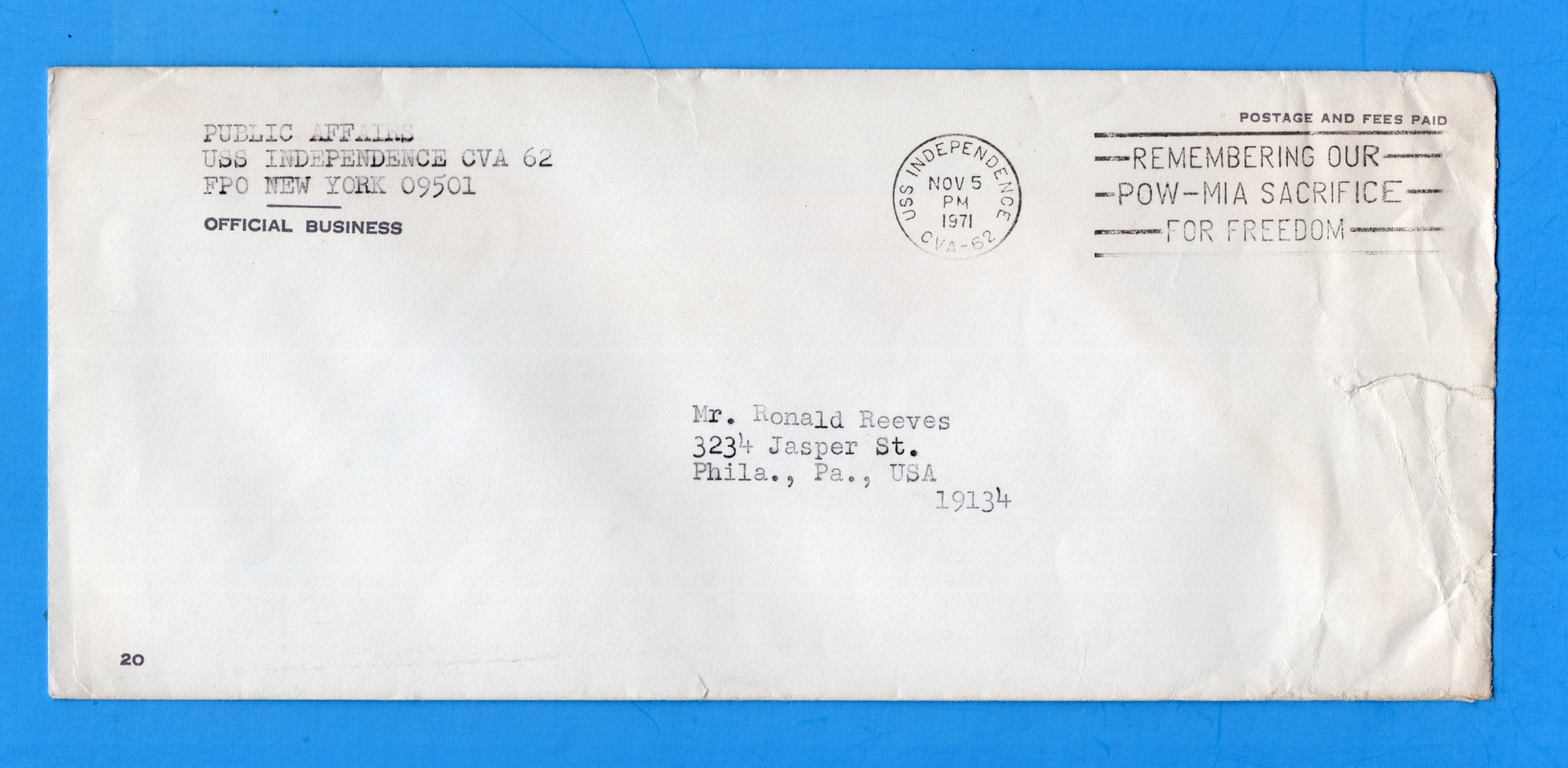 USS Independence CVA-62 Navy Department Official Mail November 5, 1971