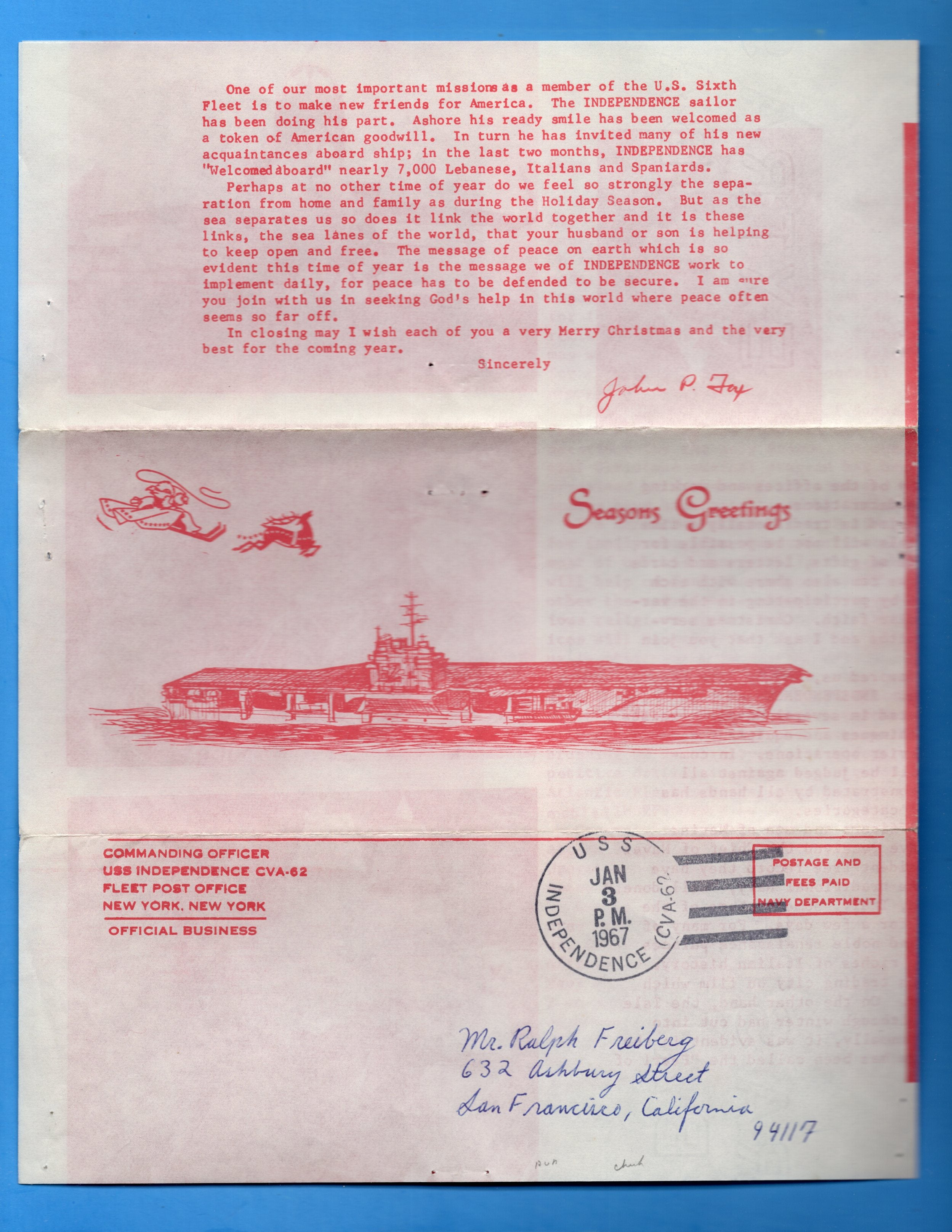 USS Independence CVA-62 Commanding Officer Christmas Family Gram Jan 3, 1967