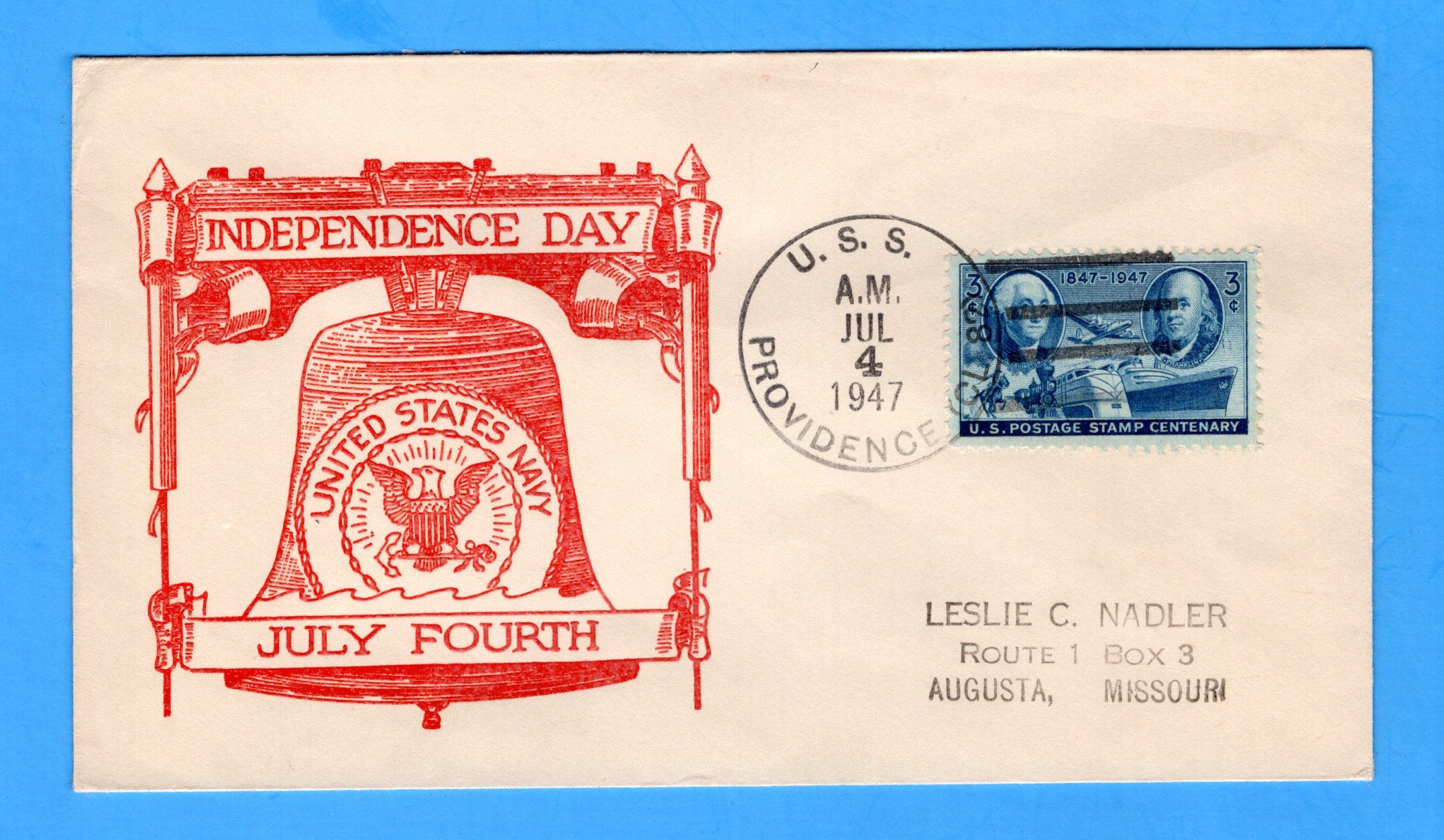 USS Providence CL-82 Fourth of July 1947 - Raised Print Cachet
