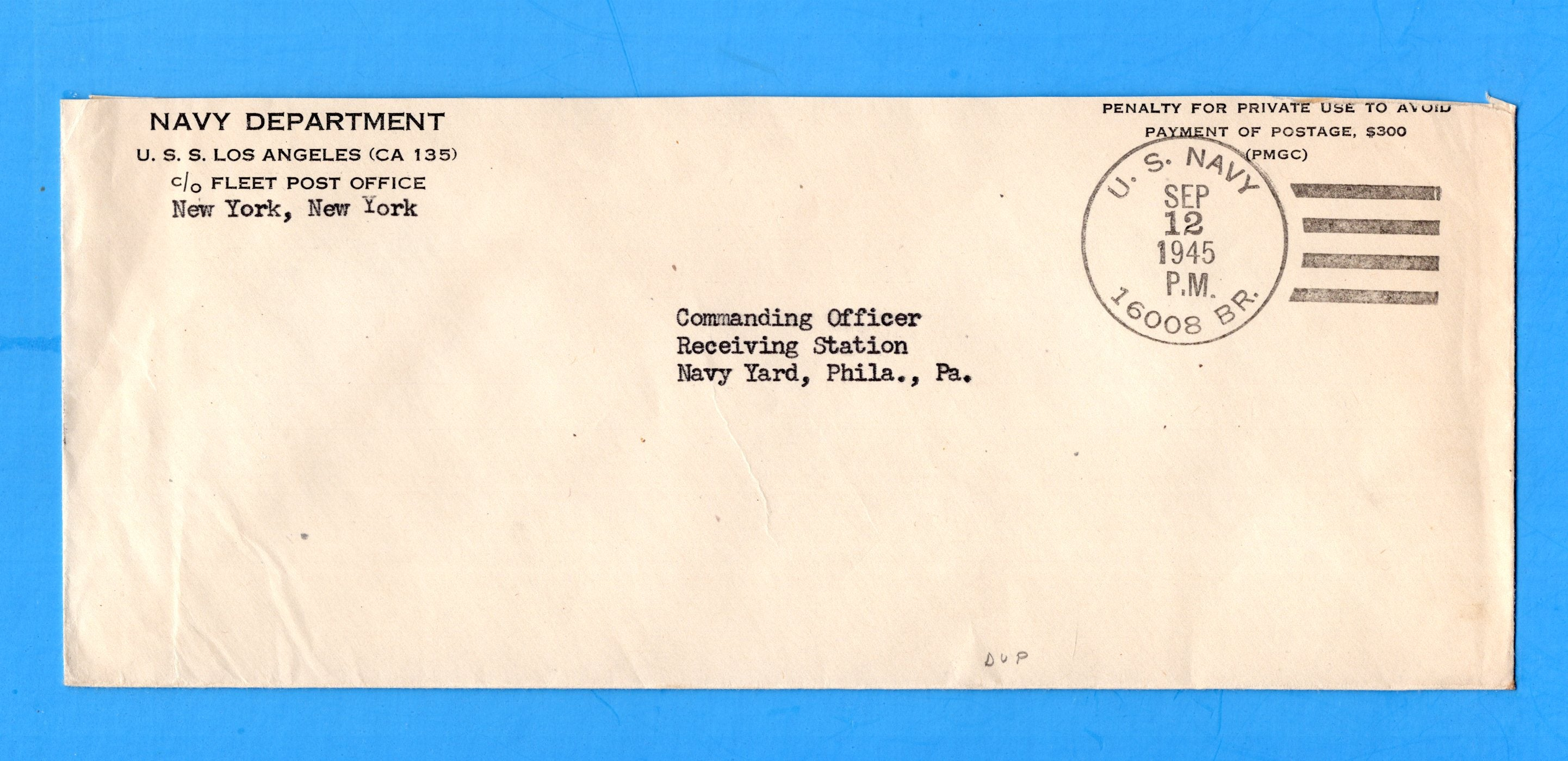 USS Los Angeles CA-135 16008 BR. Navy Department Official Censored Mail September 12, 1945
