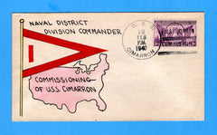 USS Cimmaron AO-177 Commissioned Feb 12, 1940 - Mae Weigand Hand Painted Cachet