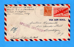 USS Cleveland CL-55 Sailor's Censored Mail Treasury Islands Oct 30. 1943