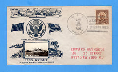 USS Wright AV-1 San Juan, Puerto Rico January 31, 1939 - Crosby Cachet