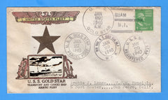 USS Gold Star AG-12  Guam Four Different Cancels Jan 27 & 29, 1940 - Crosby Cachet