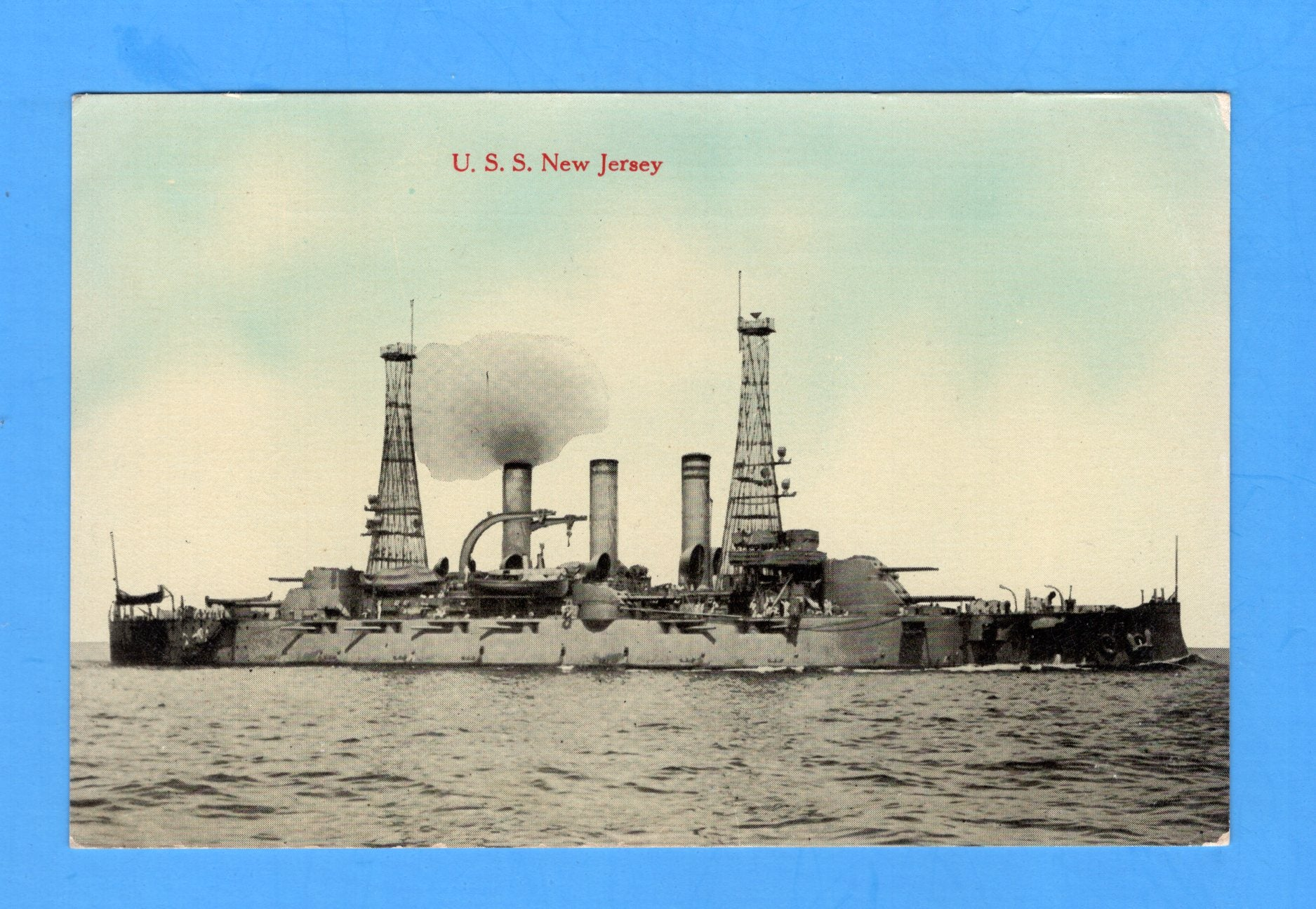 Battleship USS New Jersey BB-16 - Unused Postcard by H.H. Stratton