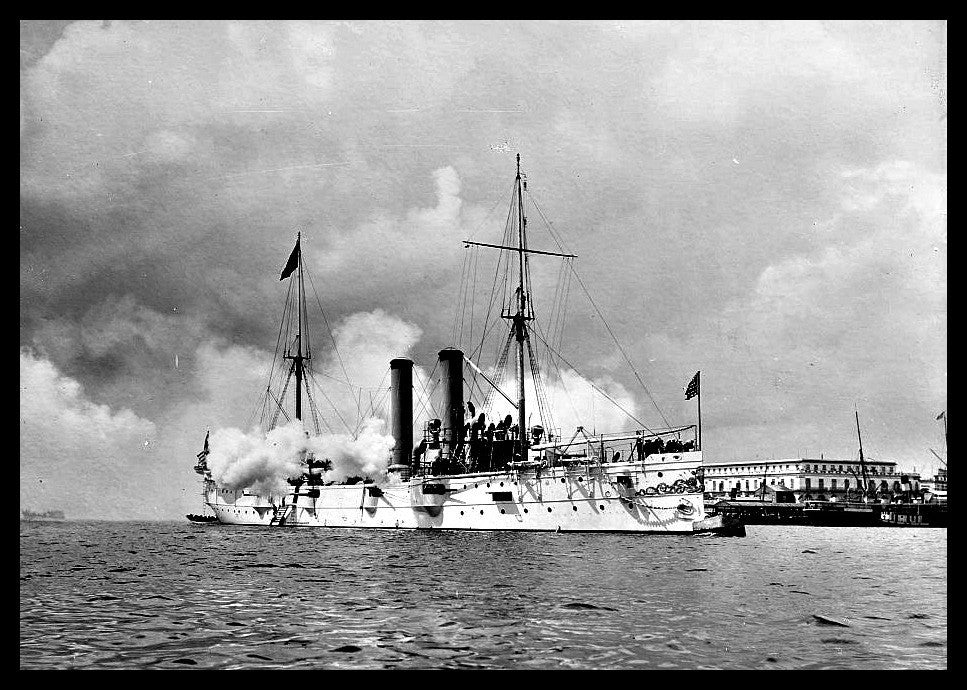 "USS Montgomery firing last salute to Spanish flag at Havana - [ca. 1898] - Detroit Publishing Co., Publisher - 5"" x 7"" Photograph"