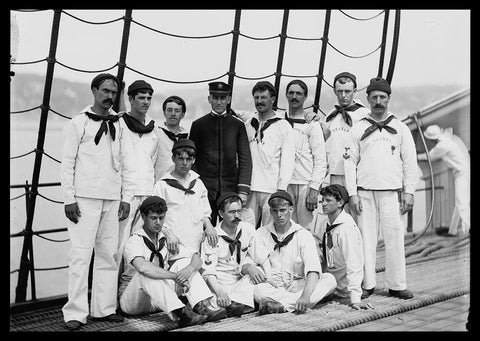 "Group of New York Naval Reserves on U.S.S. New Hampshire [between 1890 and 1901] - Detroit Publishing Co. - 5 x 7"" Photograph"