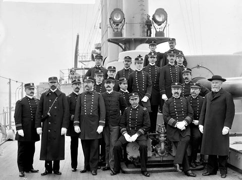 "U.S.S. Brooklyn, Captain Cook and officers [Between 1896 and 1901] - Detroit Publishing 4"" x 6"" Photo Card"