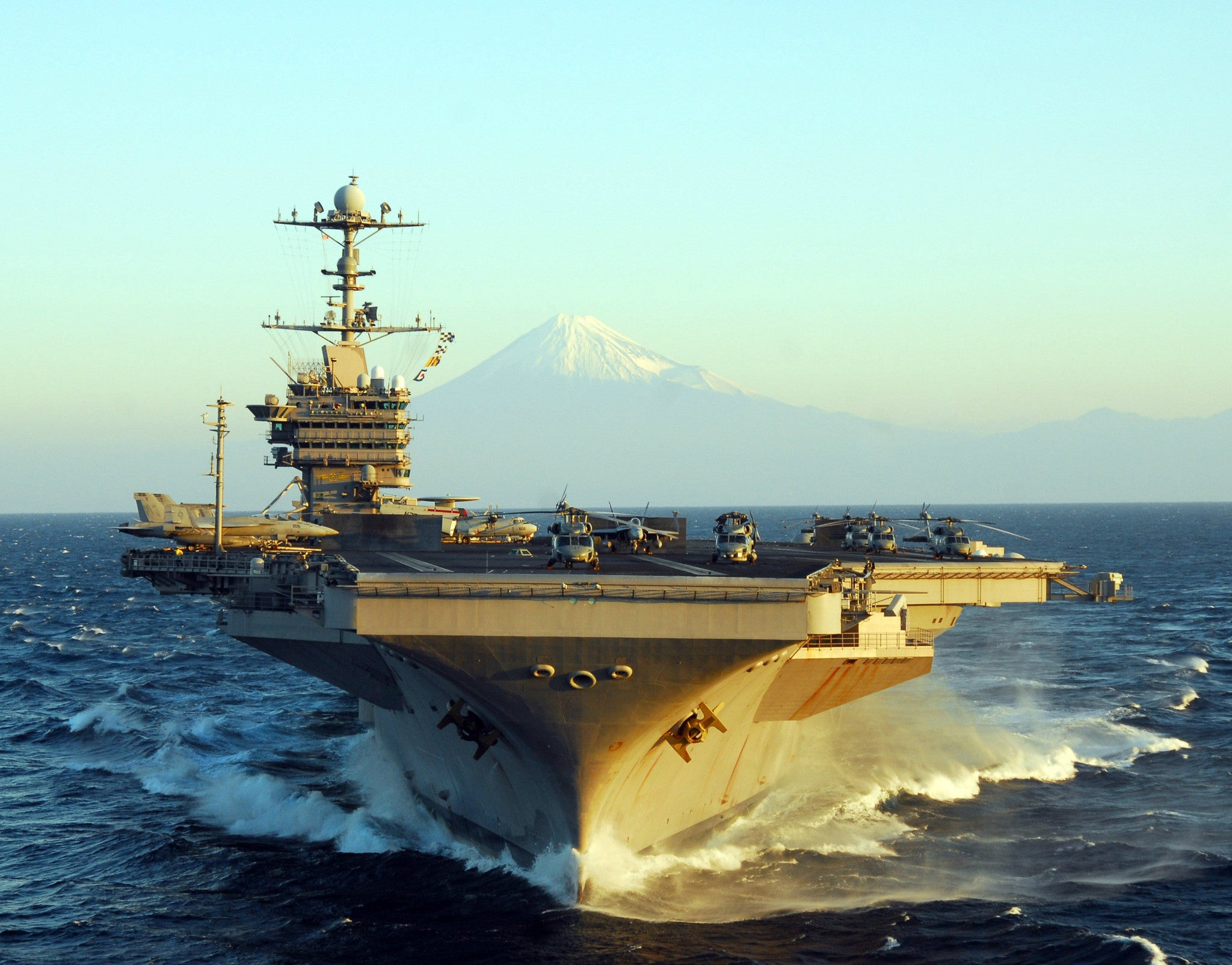 "USS George Washington CVN-73 off Mount Fuji, Japan November 21, 2009 - 8 x 10"" Photograph"