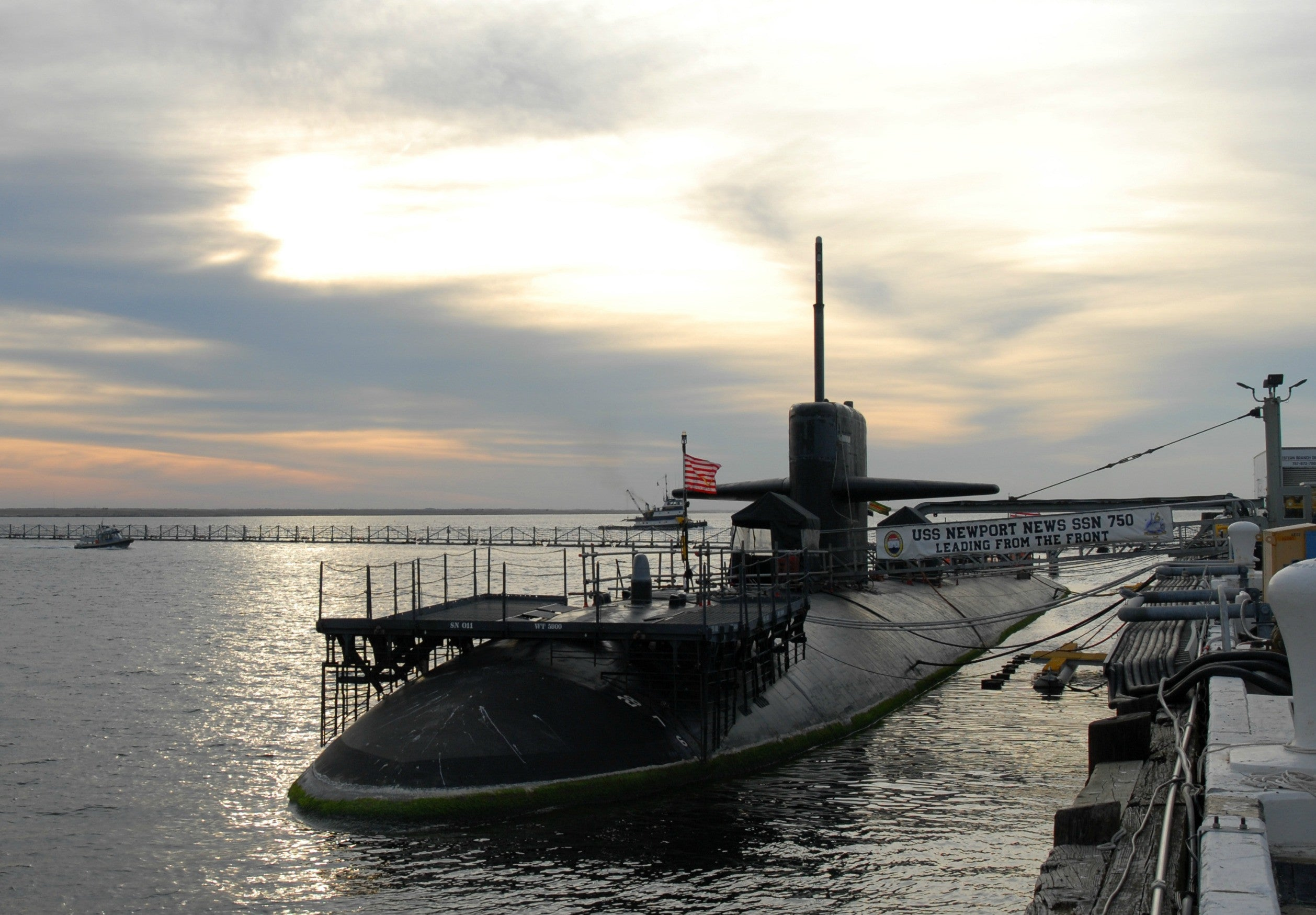 "USS Newport News (SSN 750) sits pier side at Naval Station Norfolk November 16, 2011 - 4 x 6"" Photo Card"