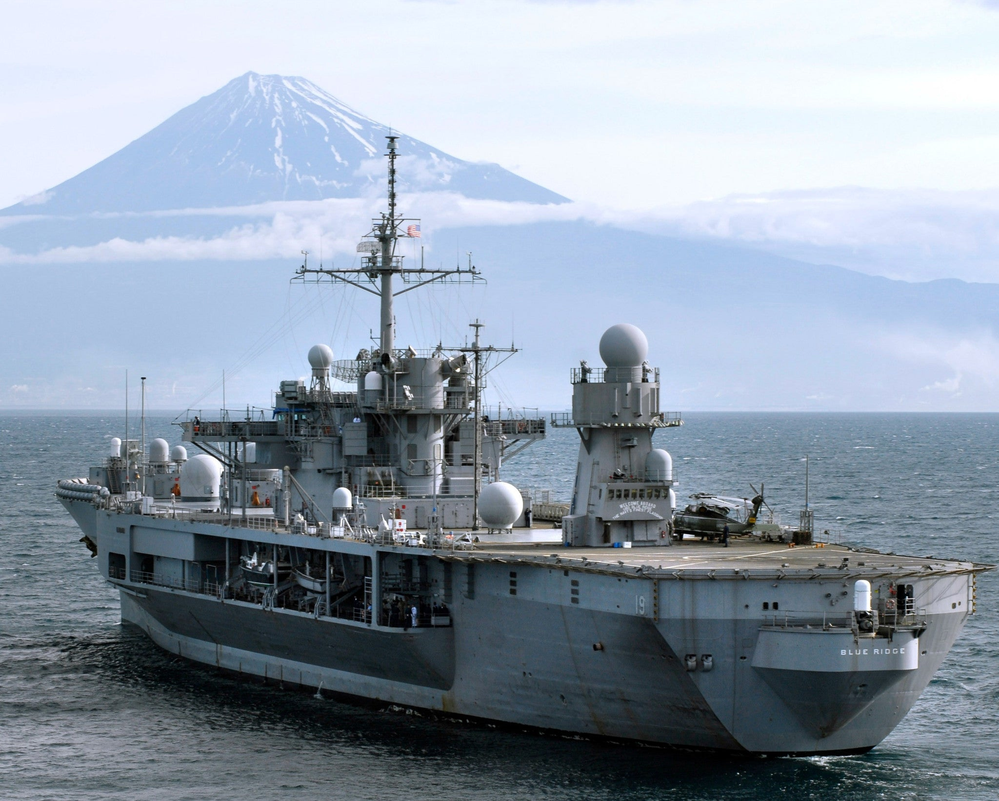 "USS Blue Ridge Off Mount Fuji, Japan May 30, 2008 - 8 x 10"" Photograph"