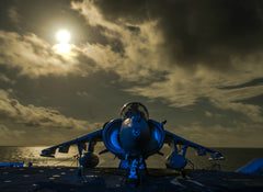 "AV-8B Harrier II sits on the Flight Deck Aboard USS Boxer LHD-4 October 20, 2013 - 4 x 6"" Photo Card"