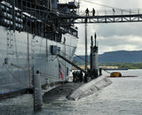 "USS Frank Cable AS -40 tends USS Hawaii SSN-776 Polaris Point, Guam December 30, 2010 - 8 x 10"" Photograph"