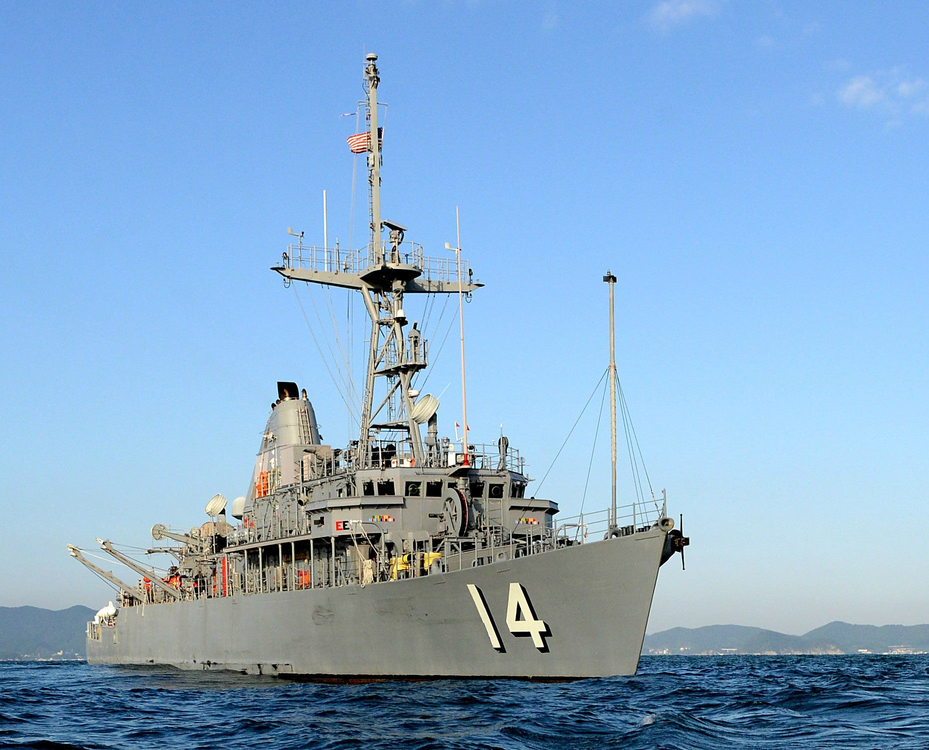 "Mine Countermeasure Ship USS Chief MCM-14 off the Korean Peninsula October 23, 2014 - 8 x 10"" Photograph"