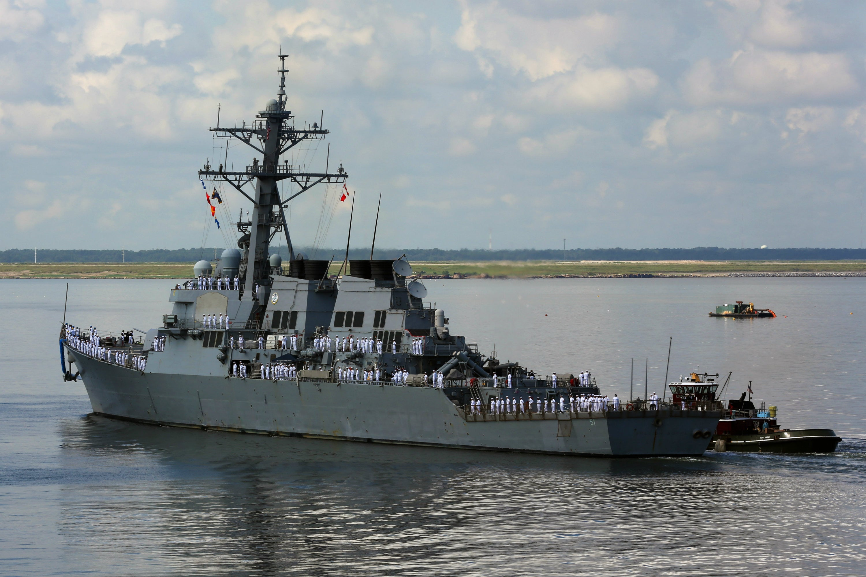 "USS DeWert FFG-45 Transits the Maumee River Toledo, Ohio August 23, 2012 - 8 x 12"" Photograph"