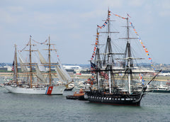 "Coast Guard Cutter USCGC Eagle WIX-327 passes USS Constitution in Boston Harbor July 4, 2012 - 8 x 12"" Photograph"