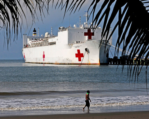 "Military Sealift Command Hospital ship USNS Comfort T-AH-20 Puntarenas, Costa Rica August 3, 2011 - 8 x 10"" Photograph"