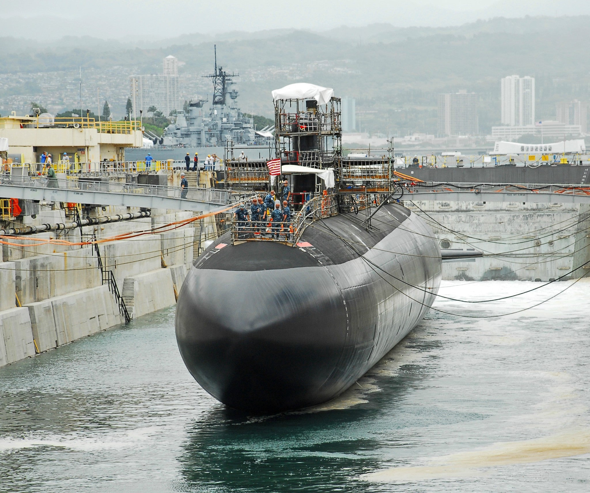 "Submarine USS City of Corpus Christi SSN-705 Dry Dock at Pearl Harbor May 18, 2010 - 8 x 10"" Photograph"