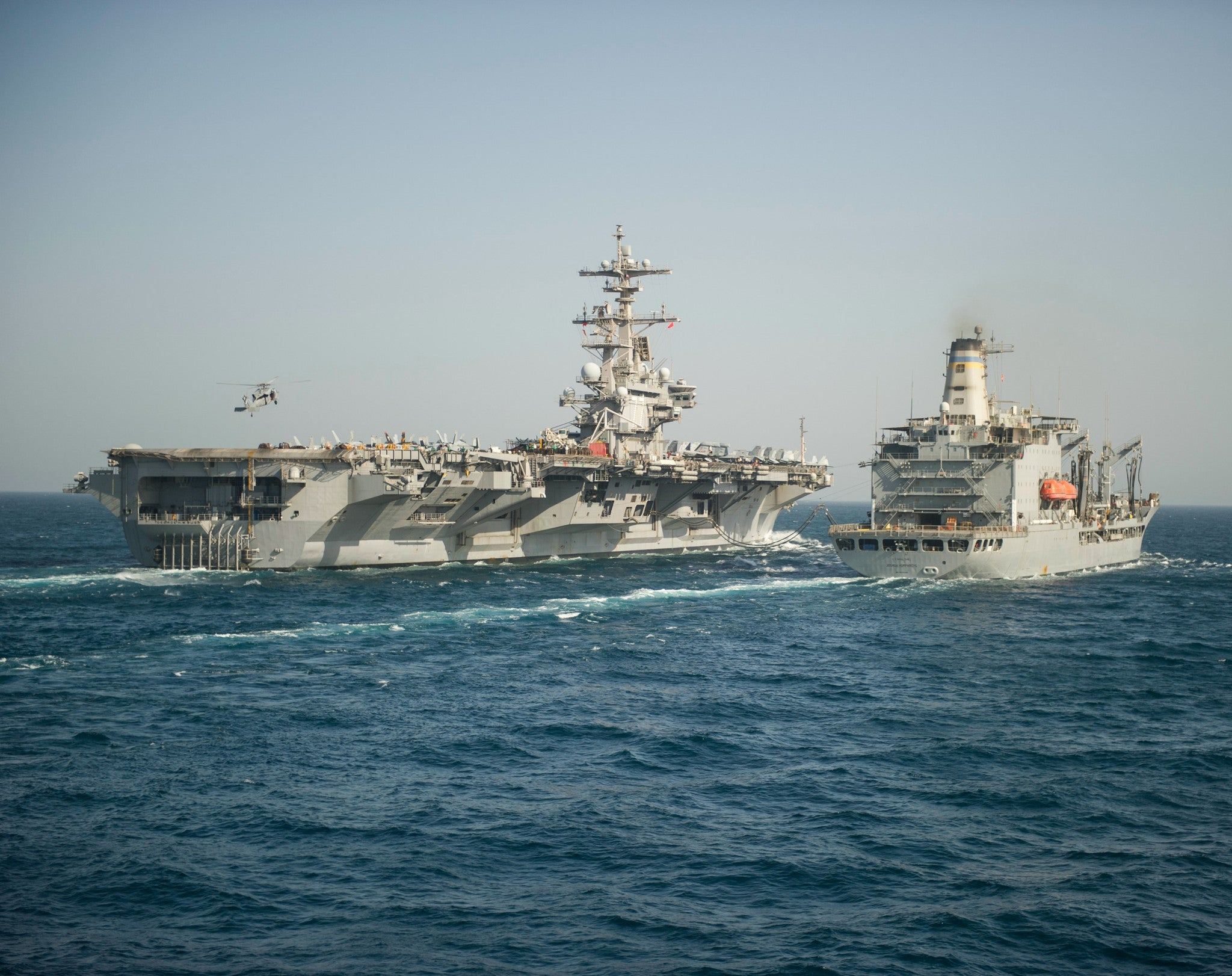 "USS George H.W. Bush CVN-77 & USNS Joshua Humphreys T-AO-188 Arabian Gulf June 18, 2014 - 8 x 10"" Photograph"