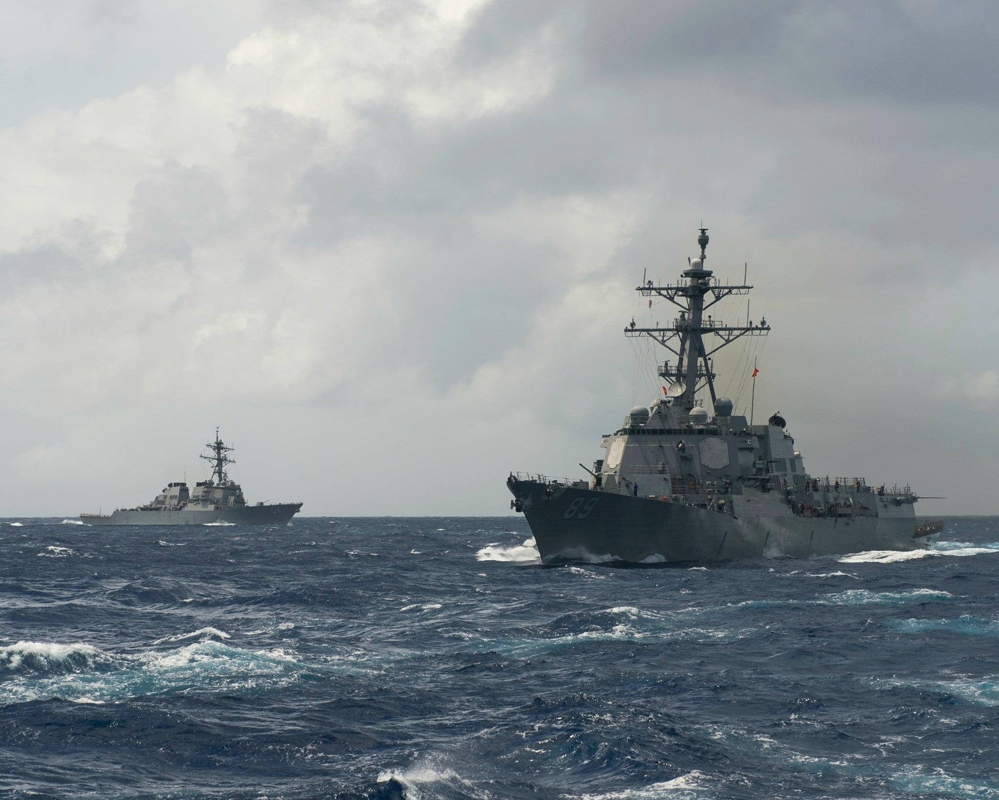 "USS Curtis Wilbur DDG-54 and USS Mustin DDG-89 Philippine Sea September 18, 2013 - 8 x 10"" Photograph"
