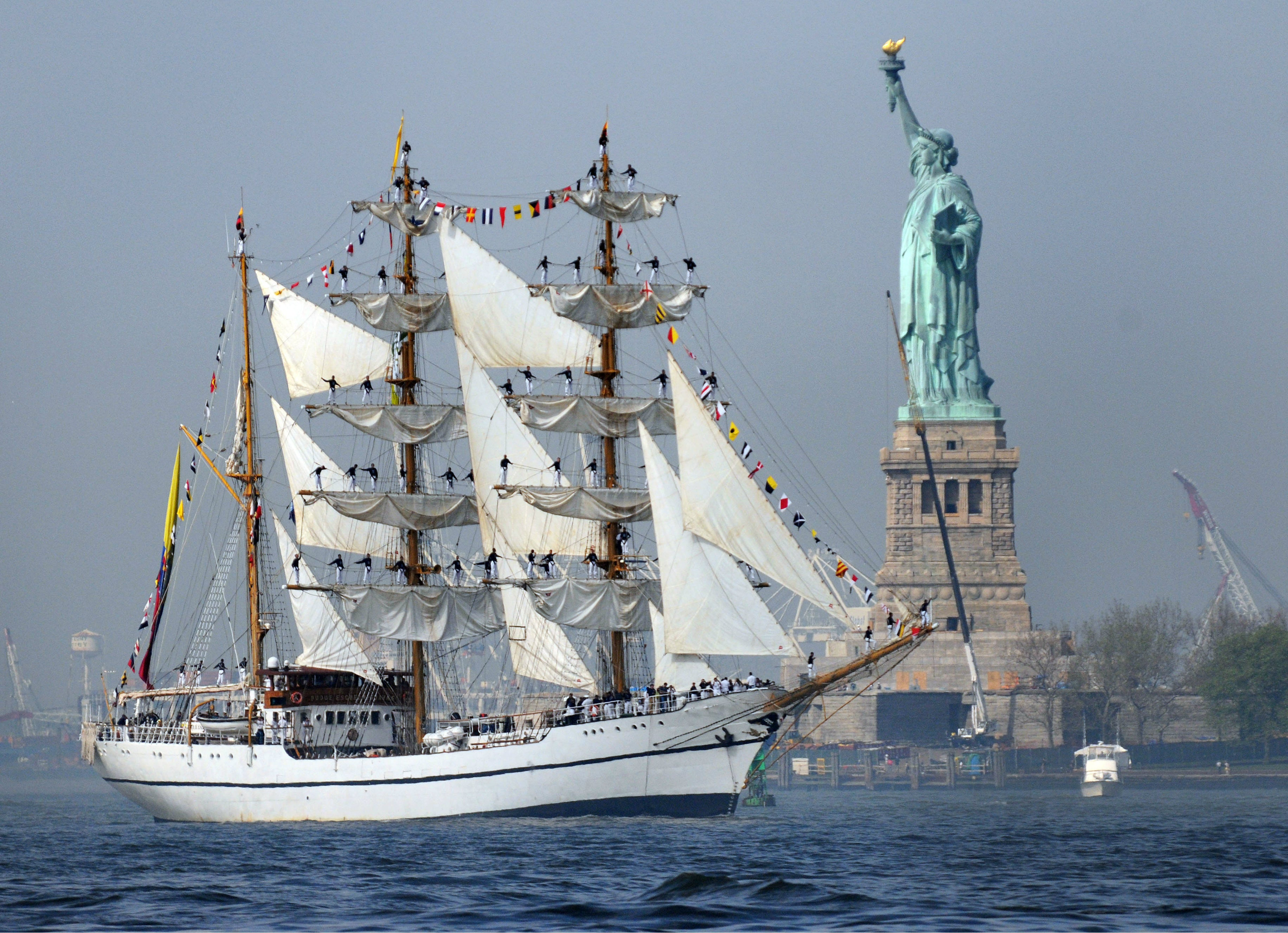 "Ecuadorian Navy BAE Guayas BE-21 Sails Past Statue of Liberty May 23, 2012 - 5 x 7"" Photograph"