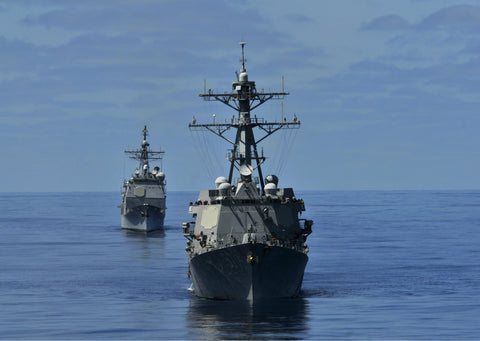 "USS Halsey DD-97 and USS Bunker Hill CG-52 Pacific Ocean May 20, 2012 - 5 x 7"" Photograph"