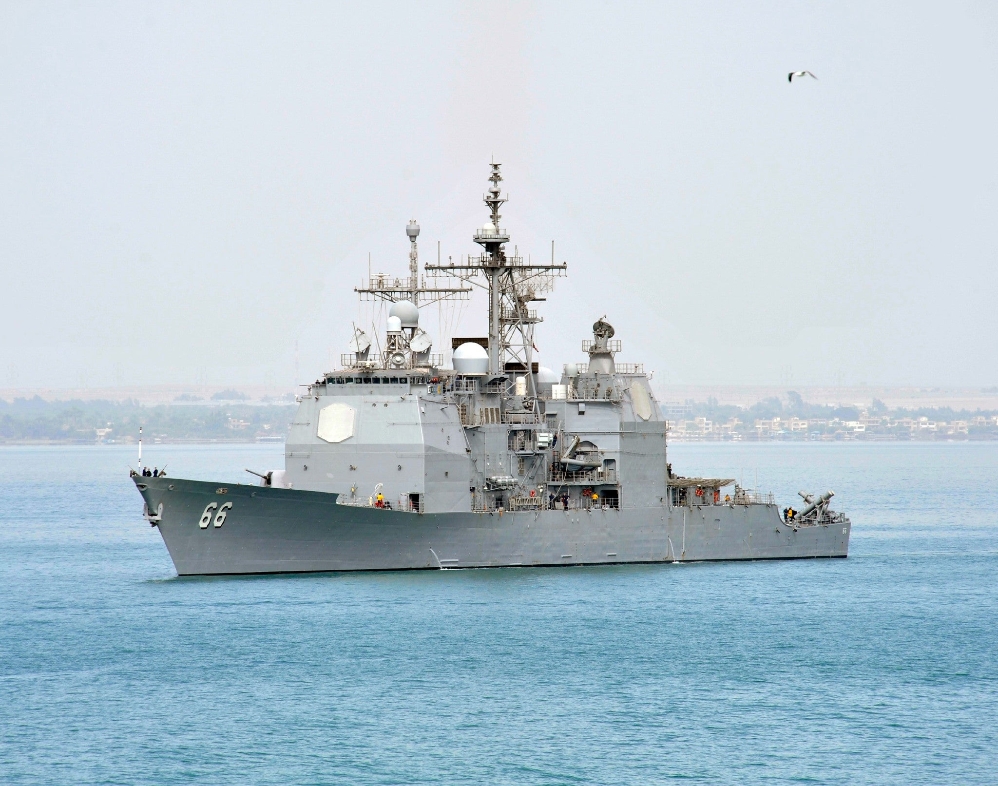 "USS Hue City CG-66 Suez Canal March 16, 2013 - 8 x 10"" Photograph"