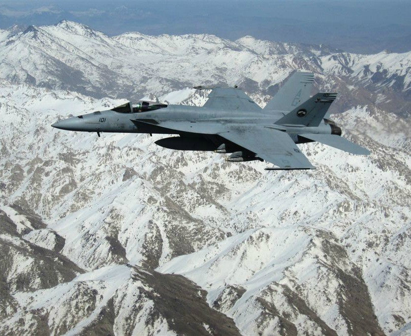 "F/A-18E Super Hornet of Pukin Dogs of Strike Fighter Squadron (VFA) 143 Afghanistan March 9, 2010 - 8 x 10"" Photograph"