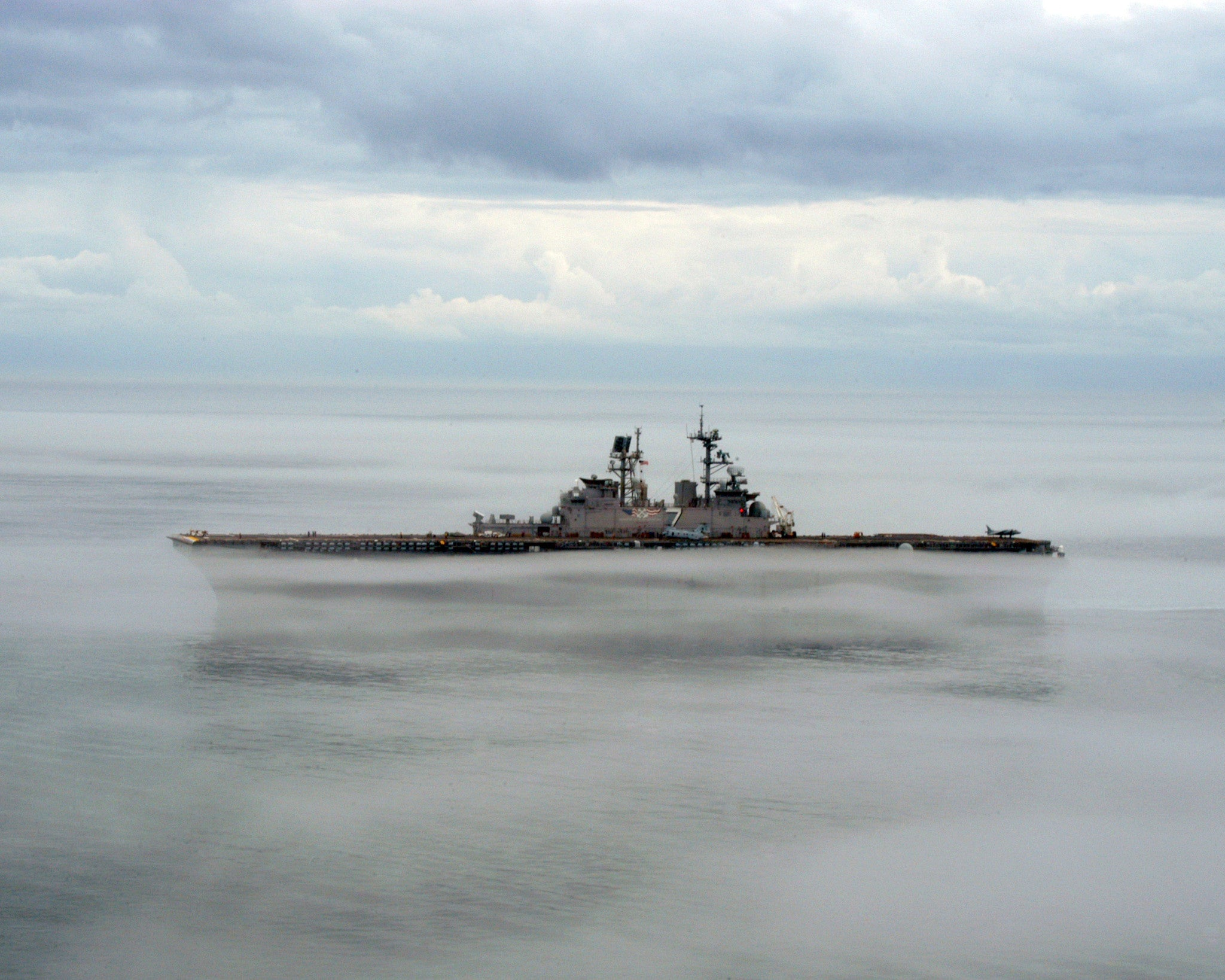 "USS Iwo Jima LHD-7 Operating on Dense Fog Atlantic Ocean January 15, 2006 - 8 x 10"" Photograph"