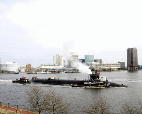 "USS Georgia SSGN-729 Passes Downtown Norfolk February 1 - 8 x 10"" Photograph"