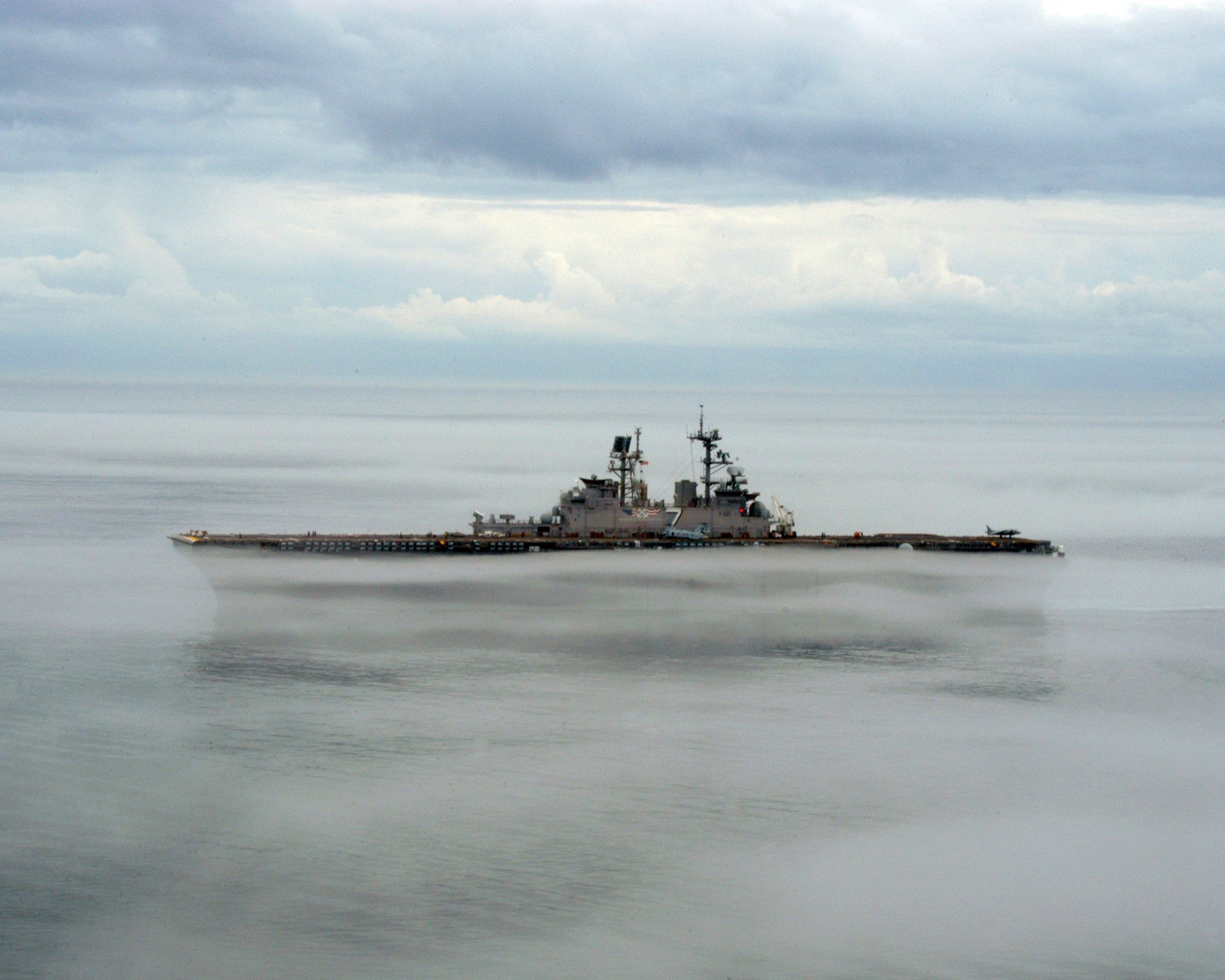 "USS Iwo Jima LHD-7 Atlantic Ocean Surrounded by Fog January 15, 2006 - 8 x 10"" Photograph"
