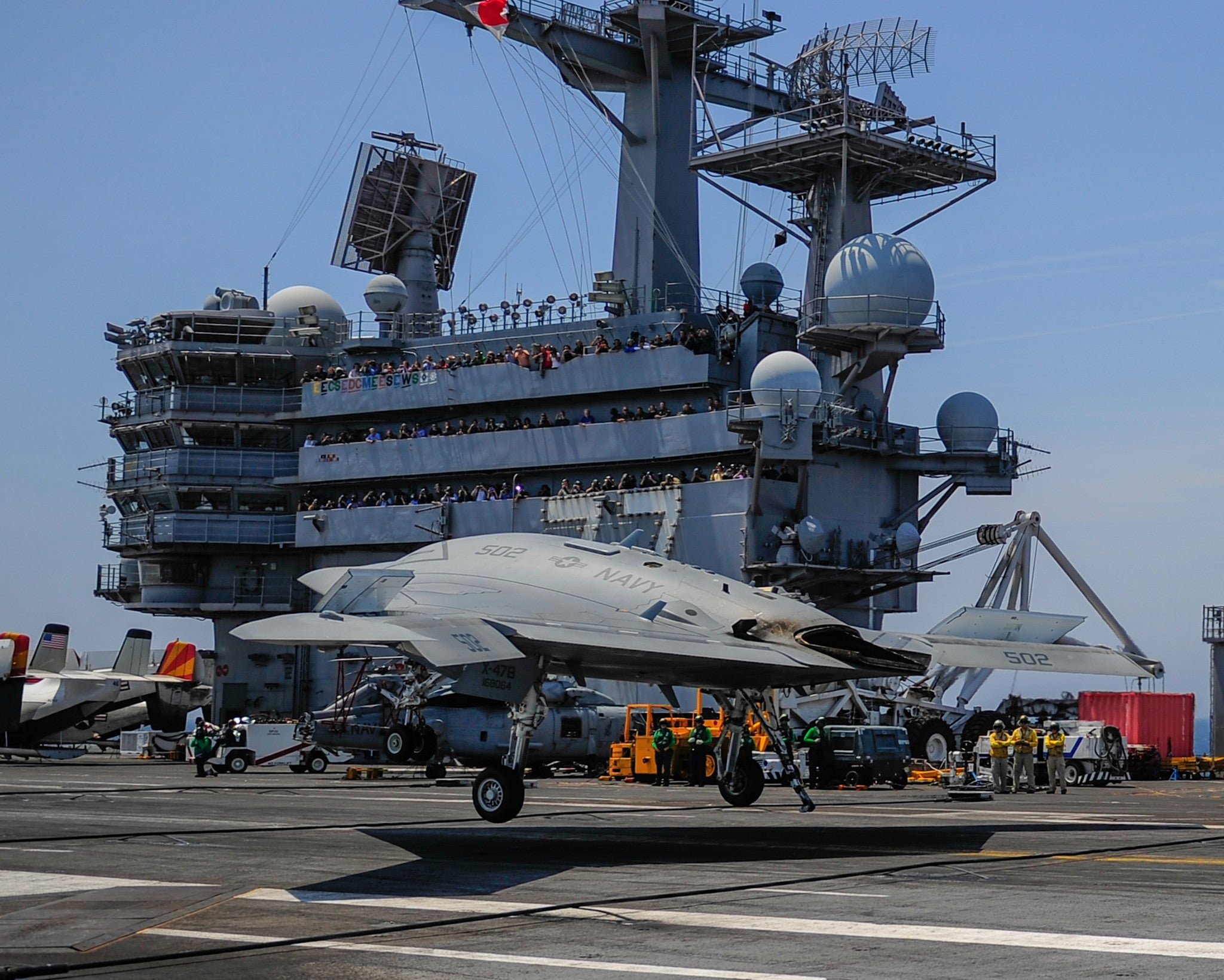 "X-47B Unmanned Combat Air System (UCAS) Lands USS George H.W. Bush CVN-77 Atlantic Ocean July 10, 2013 - 8 x 10"" Photograph"