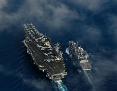 "USS Carl Vinson CVN-70 and Indian Navy Oiler INS Shakti A57 Indian Ocean April 13, 2012 - 8 x 10"" Photograph on Metallic Paper"