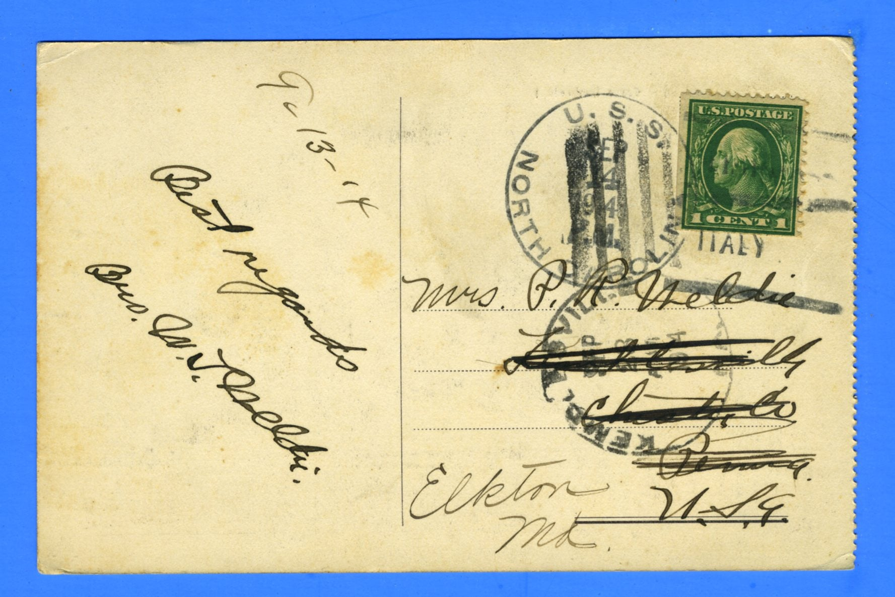 USS North Carolina ACR-12 Sailor's Mail from Italy September 14, 1914