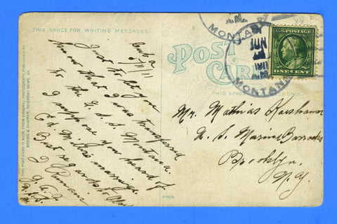 USS Montana ACR-13 Sailor's Mail from Cuba June 1, 1911 - Scarce Type 2 Cancel