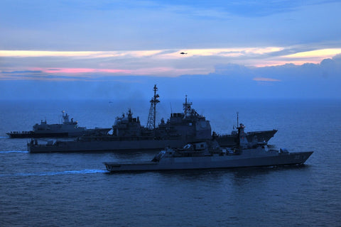 "Royal Malaysian Navy Ships & USS Mobile Bay CG-53 INDIAN OCEAN (Sept. 8, 2011) - 4"" x 6"" Photograph"
