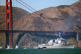 "USS Shoup DDG-86 passes under the Golden Gate Bridge SAN FRANCISCO (Oct. 6, 2007) - 4"" x 6"" Photograph"