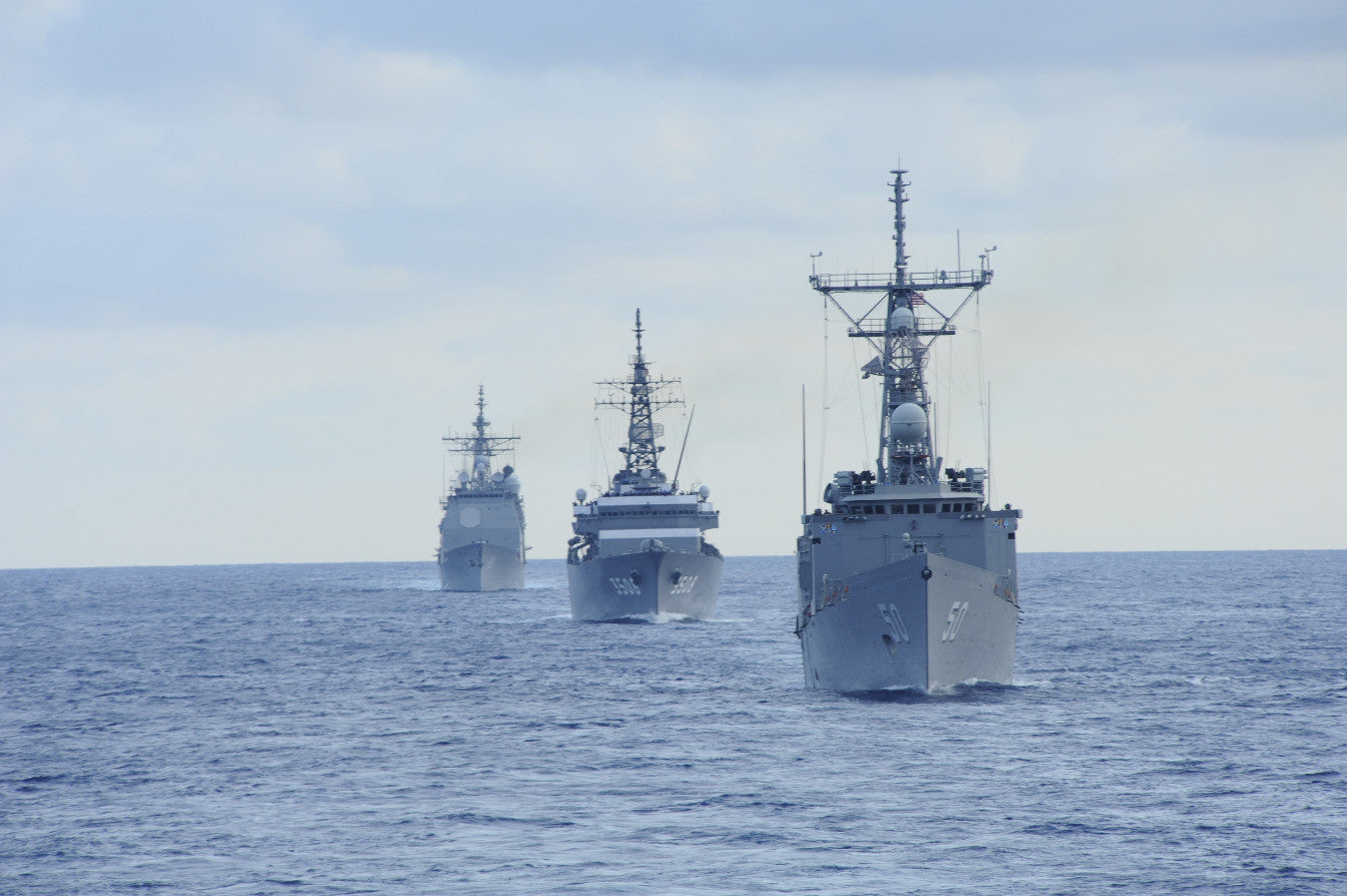 "USS Taylor FFG-50 leads U.S. Navy and Japan Maritime Self-Defense Force ATLANTIC OCEAN (July 31, 2011)  - 4"" x 6"" Photograph"