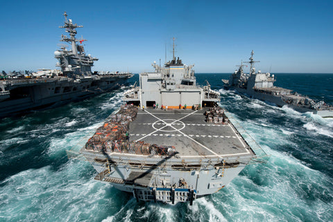 "USNS Bridge T-AOE 10 Replenishes USS Carl Vinson CVN-70 & USS Bunker Hill CG-52 ARABIAN GULF (March 6, 2012) - 4"" x 6"" Photograph"
