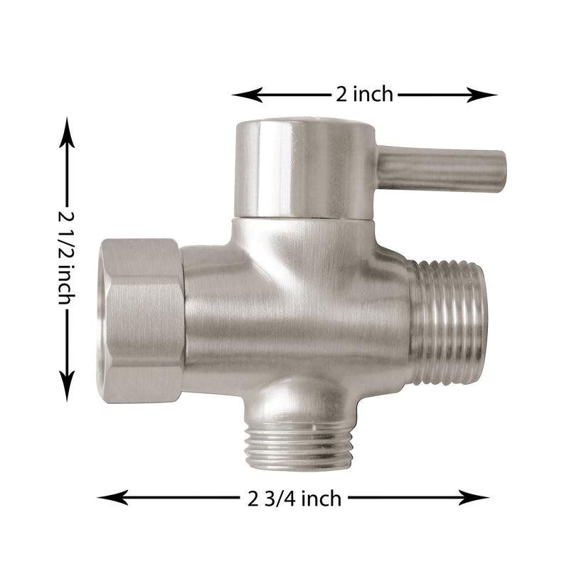 SmarterFresh Brass Brushed Nickel Finish 3 Way T-Valve Adapter
